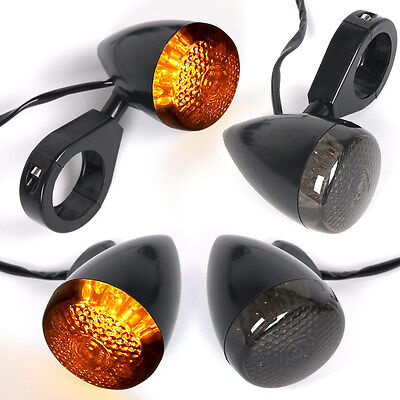 4pcs Bullet Motorcycle Turn Signal LED Light Indicators Blinkers Lights Amber