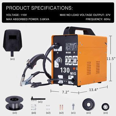 130 Mig Welder Flux Core Wire Automatic Feed Welding Machine Free Mask Orange Aa