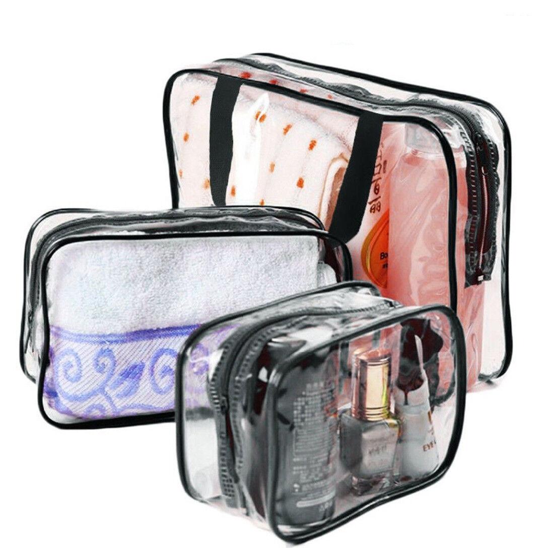 3 pcs clear pvc travel wash bag cosmetic makeup toiletry. Black Bedroom Furniture Sets. Home Design Ideas