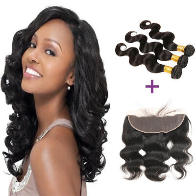 Ear to Ear Lace Frontal Closure with 3Bundles Body Wave Brazilian Human Hair (Ear To Ear Lace Frontal With Bundles)