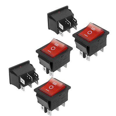 5 Pcs Dpdt Neon Light Onoffon Rocker Switch Ac 250v15a 125v20a L6