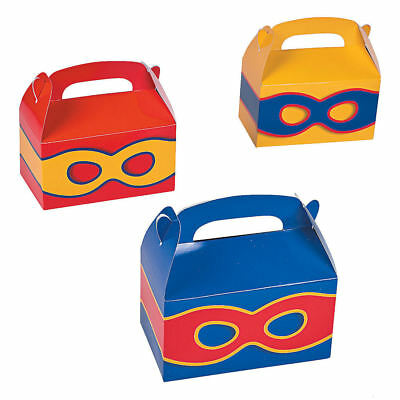 12 SUPERHERO PARTY TREAT BOXES Gift Basket Boys Girls Favors Goody box