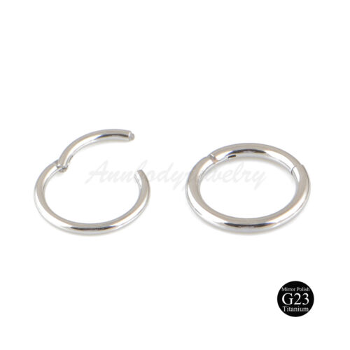 18g 16g 14g G23 Titanium Hinged Segment Nose Ring Septum Clicker Daith Hoop