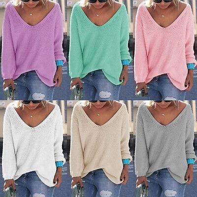 Women Girls Casual Long Sleeve Knitted V Neck Loose Sweater Jumper Tops Knitwear