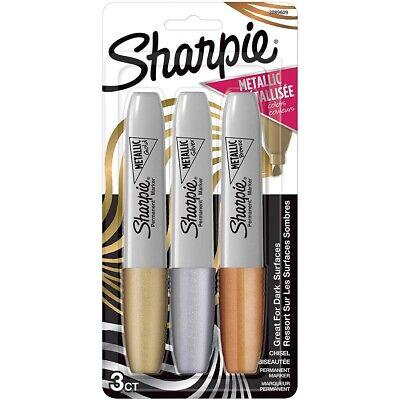 Sharpie Chisel Tip Metallic Permanent Markers 3-color Set