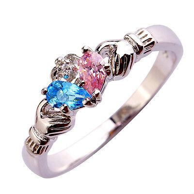 Wedding Claddagh White & Pink & Blue Topaz Jewelry Silver Fashion Ring Size (Blue Topaz Claddagh Ring)