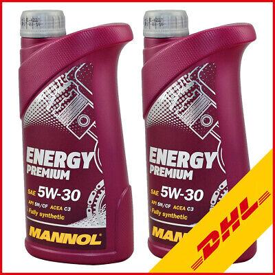 2L (2x1) Mannol Motoröl Energy Premium Motorenöl 5W-30 für Mercedes VW BMW Opel (Pkw-motoren)