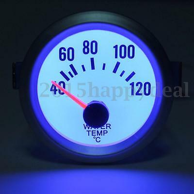 "2"" 52mm White Face Blue LED Electrical Water Temperature Temp Gauge Celsius 12V"