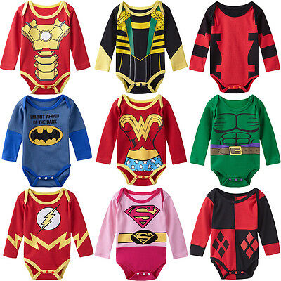 Baby Boy Girl Superhero Costume Bodysuit Newborn Jumpsuit Party Playsuit Outfit