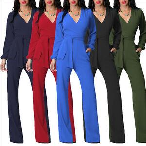New-Women-039-s-Casual-Long-Sleeve-Jumpsuit-Romper-Wide-Leg-Pants-Trousers-Clubwear