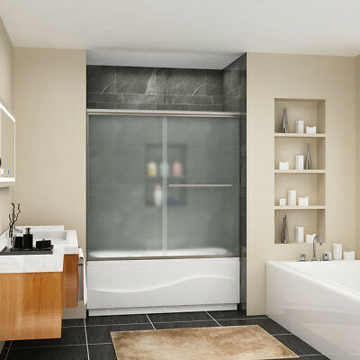 "Clear SHOWER Sliding Shower Bypass Tub Door 60"" Semi-Frameless Frosted Glass"