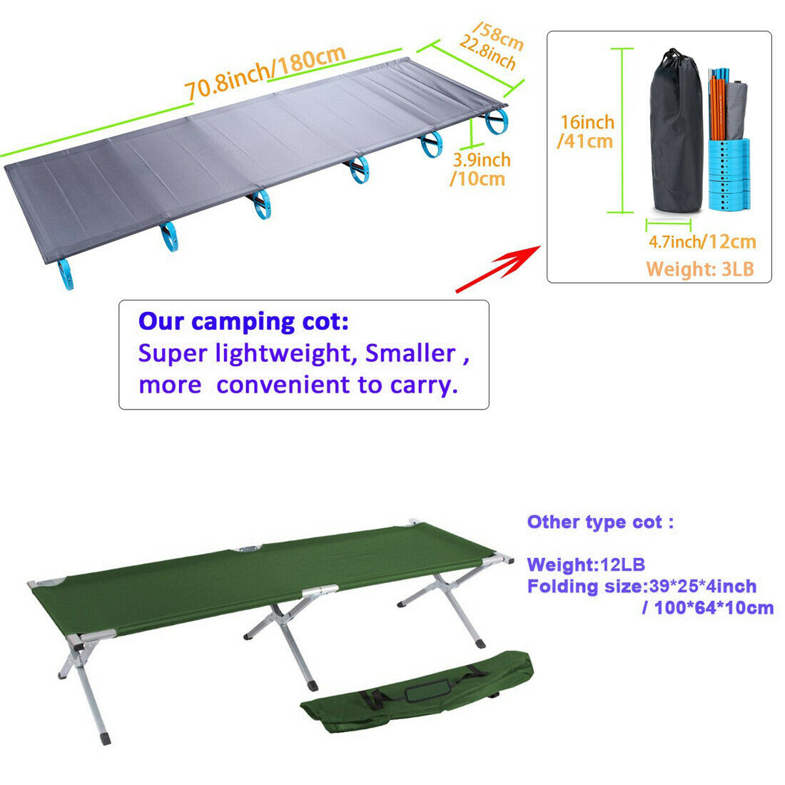 Outdoor Portable Folding Cot Ultralight Hiking