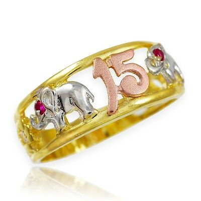 "Tri-Tone Gold ""15 Años"" Quinceañera CZ Ring with Elephants"
