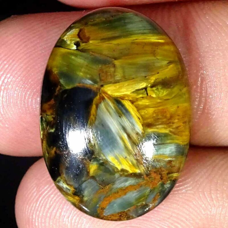 18.30Cts Natural Chatoyant Golden Pietersite Oval Cabochon Loose Gemstone