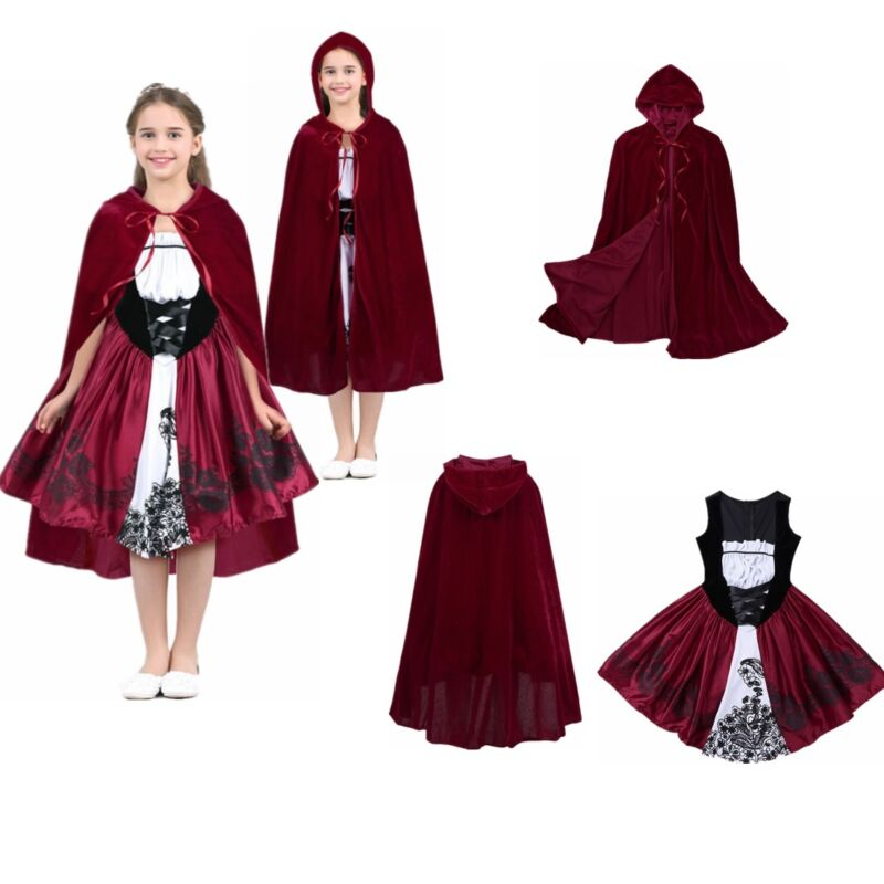 Halloween Little Red Riding Hood Dress Costume For Kids Christmas Party Cosplay
