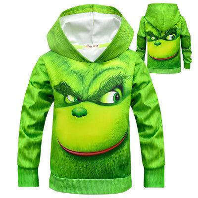 Green Monster Grinch The Grinch Children's Christmas Costume Big Boy Hoodie
