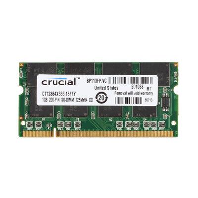 1 Gb Ram Pc Notebooks (Crucial 1 GB 1G SODIMM RAM Laptop Memory PC-2700S DDR 333MHZ 2.5V Notebook @3H )