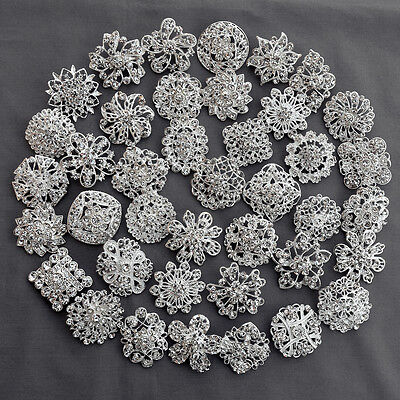 40 Brooch Lot Sliver Rhinestone Crystal Pin Wedding Bouquet DIY Kit Wholesale