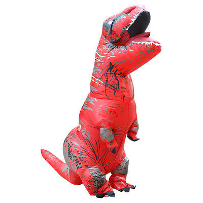Inflatable T-Rex Dinosaur Costume Adult Fancy Dress Halloween Blow Up - Red Dinosaur Costume