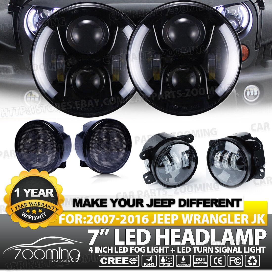 "7/"" 100W CREE LED Headlights Halo with Turn Signal Fog Light Combo For 07-17 Jeep"