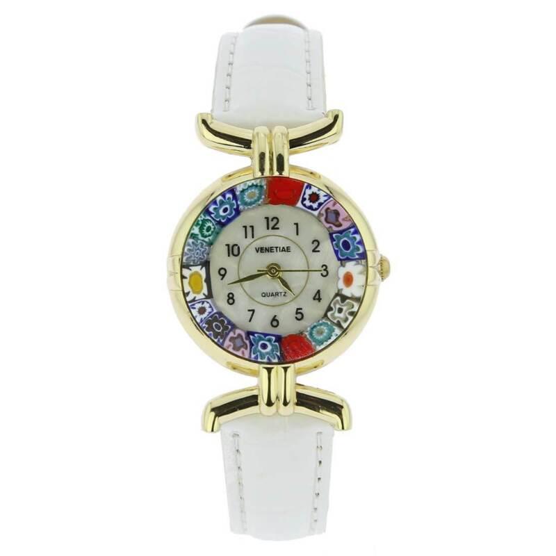 GlassOfVenice Murano Glass Millefiori Watch with Leather Band - White