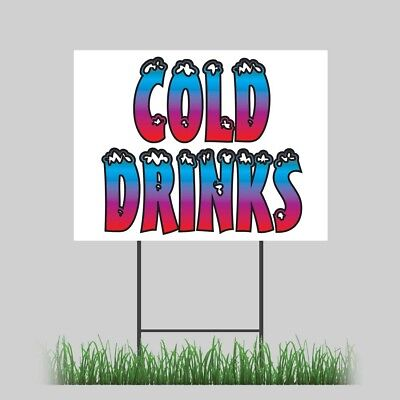 18x24 Cold Drinks Yard Sign Retail Food Truck Concession Festival Sign