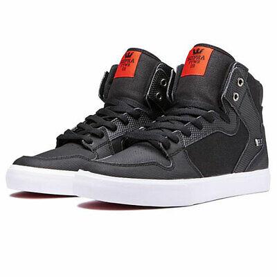 Supra Men's Vaider Hi Top Sneaker Shoes Black Tuf-White Footwear Skateboarding S Blk Mens Footwear