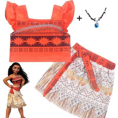 US STOCK ! Girls Kids Movie Polynesia princess Moana 2-Piece Costume Dress O21