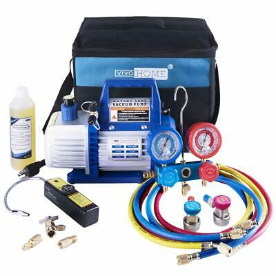 VIVOHOME 4CFM Vacuum Pump HVAC Refrigeration AC Manifold Gauge R134a R22 R502 US