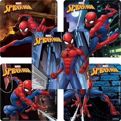 20 Spiderman STICKERS Party Favors Supplies Birthday Treat Loot Bags Spider-Man