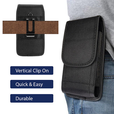 Belt Clip Carrier - Samsung Pouch Vertical Canvas Universal Belt Clip Phone Carrier Case Black