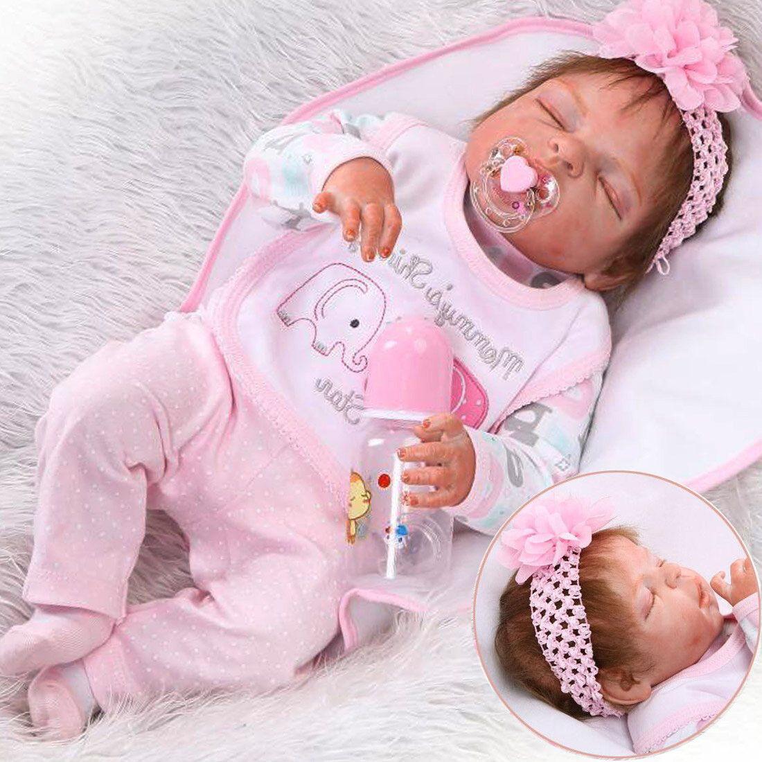 22CM Full Body Silicone Vinyl Newborn Lifelike Handmade Reborn Baby Girl Doll US