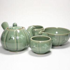 Korean Celadon 3 cups tea set Pumpkin hand-made perfect gift teaset