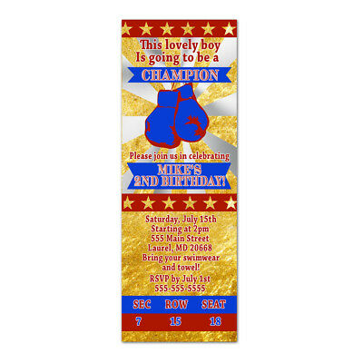 30 invitations kids birthday baby boy shower boxing ticket red gold royal blue](Royal Blue Baby Shower Invitations)