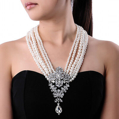 Fashion White Pearl Chain Crystal Chunky Choker Statement Pendant Bib Necklace