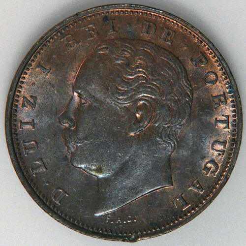 Portugal 10 Reis 1884. KM 526. Lustrous Red-brown Uncirculated
