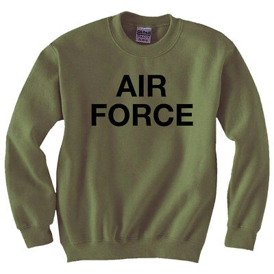 Vintage Air Force Crewneck Sweatshirt in Military Green Adult Small to 5X-Large Air Force Crewneck Sweatshirt
