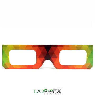 GloFX Paper Cardboard Diffraction Glasses – Geometric Rainbow Pack of 10