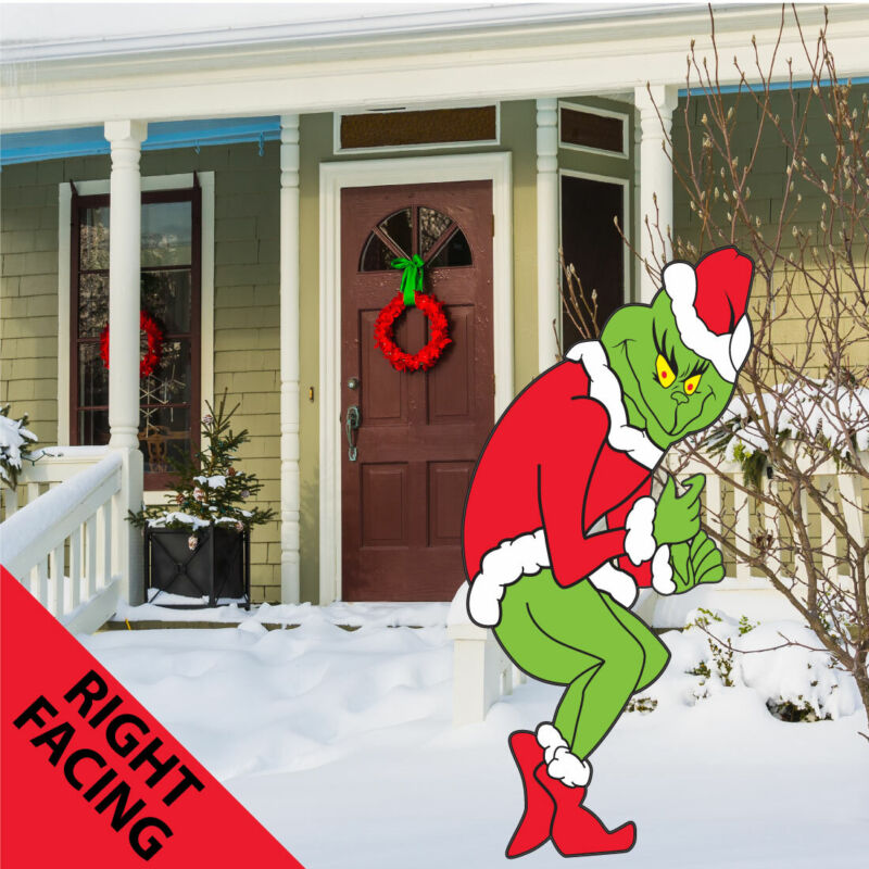 Grinch Stealing Christmas Lights Yard Art Funny Lawn Decoration - Right