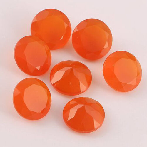 10 Pcs Lot Natural Carnelian 6mm Round Faceted Cut  Loose Gemstone