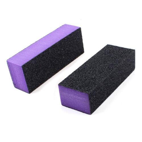 12pc Black Grit Purple Sanding 3-Way 60/60/100 Nail Buffer Blocks NEW