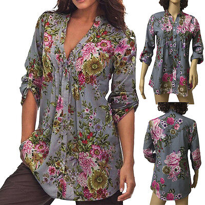 V-neck Vintage Tunic - Women Fashion Plus Size V-Neck Vintage Floral Print Tunic Tops Blouse Tee Shirts