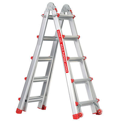 En131 5x4 Adjustable 17 Ft Aluminum Telescoping Multi-position Multi-use Ladder