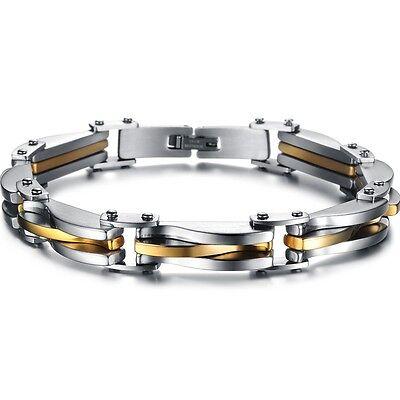 Edelstahl Panzerarmband Herren Armband Armreif Armkette Schmuck Silber Gold 22cm
