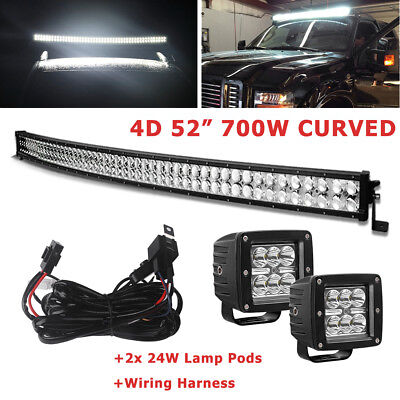 52inch LED Light Bar 700W Curved Combo+2x 4'' Pods Jeep 4X4 Boat Offroad+Harness