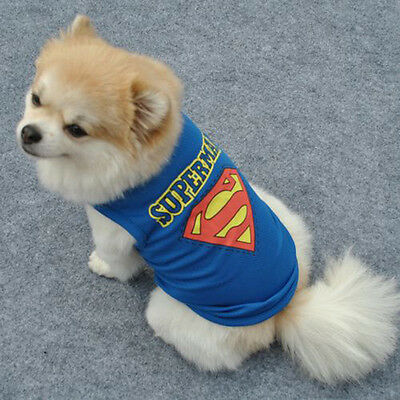 Pet dog Sleeveless Dog Vest Clothes Superman Vest For Dog Cotton Clothes Blue - Superman Dog