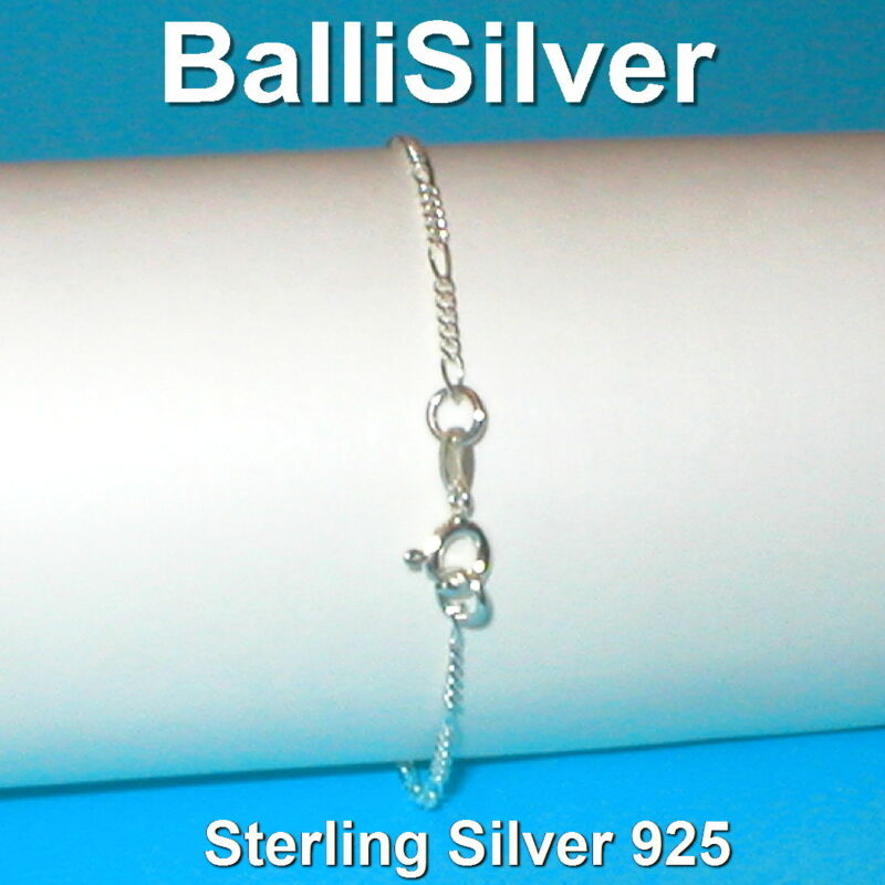 6 pcs Sterling Silver 925 Diamond Cut 2mm FIGARO Chain BRACELETS Wholesale Lot