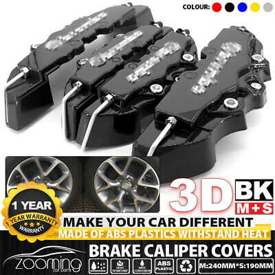 4 Pcs Black 3D Brake Caliper Covers Style Disc Universal Car Front Rear Kits UK