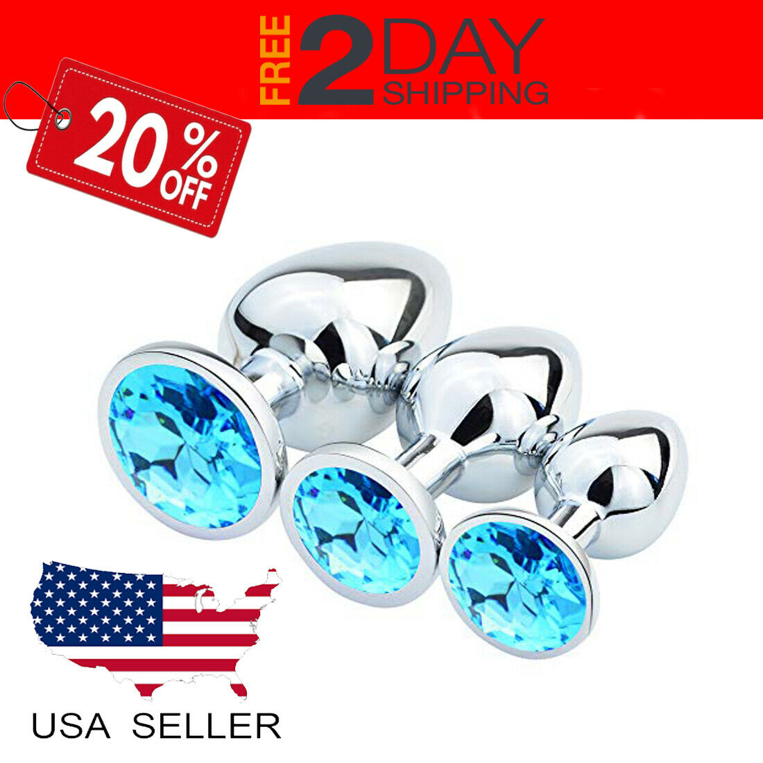 3 Pcs Size Butt Toy Plug Stainless Steel Metal Luxury Jewelr