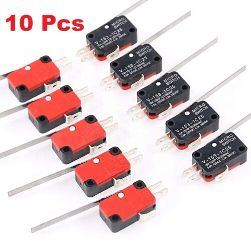 10x Limit Switch Long Straight Hinge Lever Type SPDT Micro Switch TOP V-153-1C25
